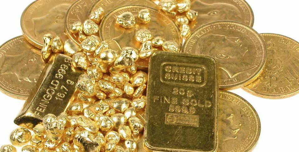 Goldmünzen, Goldbarren und Gold-Nuggets